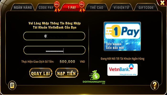 Nạp tiền top88 1pay